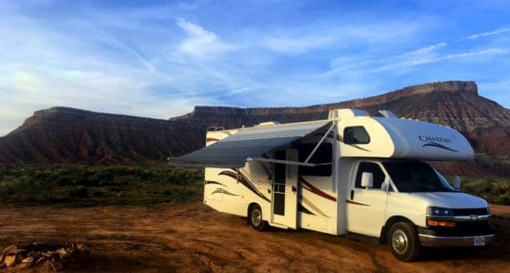 30' Chateau Campground View in Zion. RV Rental with awning in Utah desert.